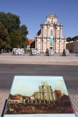 Bellotto replica of the Church of the Visitation with present day church. Photo by Richard Varr