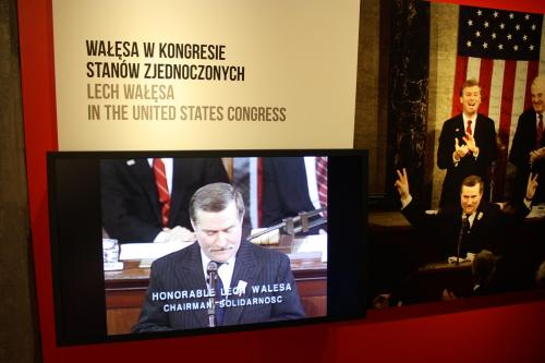 President Lech Walesa addressing the U.S. Congress. Photo by Richard Varr