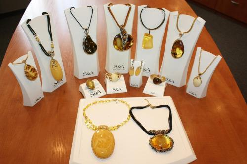 Amber jewelry at S&A Jewellery Design, Gdynia. Photo by Richard Varr