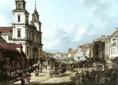 Bellotto's view of the Royal Way with Church of the Holy Cross. Courtesy Royal Castle, Warsaw.