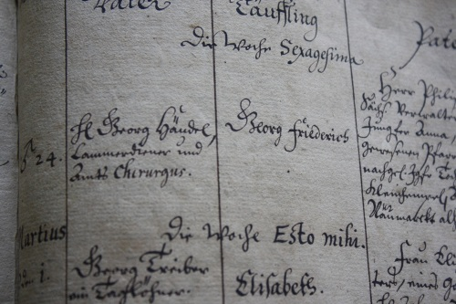 Handel baptism entry. Photo by Richard Varr